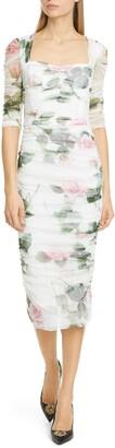 Dolce & Gabbana Rose Print Ruched Tulle Midi Dress