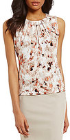 Calvin Klein Petites Brushed Floral Print Pleat Neck Matte Jersey Shell