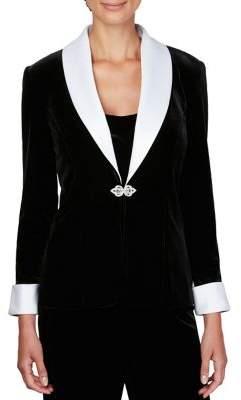 Alex Evenings 2-Piece Satin Collar Decorative Jacket and Tank Set