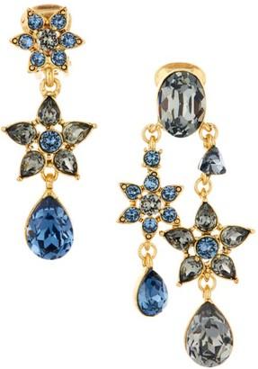 Oscar de la Renta Swarovski Crystal Flower Mismatched Clip-On Drop Earrings