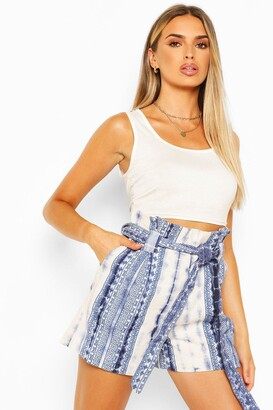 boohoo Tie Dye Print Cotton Twill Belted Shorts