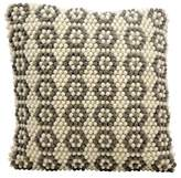 "Nourison Ivory/Gray Loop Flowers Throw Pillow (20""x 20"")"