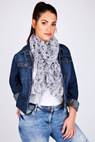 Yours Clothing Grey Butterfly Elasticated Ruffle Scarf