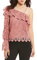 J.o.a. One Shoulder Lace Ruffle Top