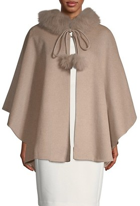 Belle Fare Dyed Fox Fur-Trim Cashmere Cape