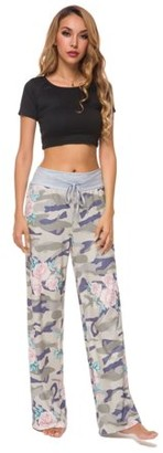 Lilly Posh Women's Comfy StretchE Drawstring Camouflage and floral Lounge Pants with Black Waist