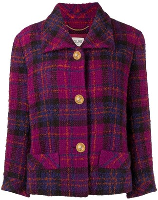 Céline Pre-Owned Pre-Owned Crop Sleeves Plaid Jacket