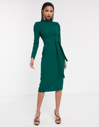 Asos Design DESIGN long sleeve midi dress with obi belt-Green