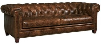 "Lamine Genuine Leather Chesterfield 90"" Rolled Arm Sofa Charlton Home"