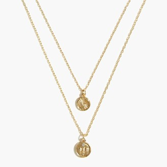 J.Crew Stamped coin two-layer necklace