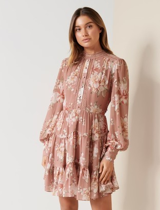 Forever New Kai Balloon Sleeve Dress - Burnt Pink Sienna - 10