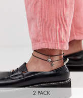 Reclaimed Vintage inspired 2 pack anklet with charm exclusive at ASOS