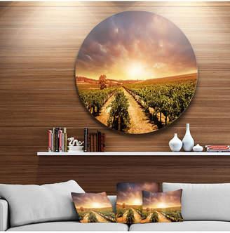 "Designart 'Vineyard With Stormy Sunset' Extra Large Wall Art Landscape - 38"" x 38"""