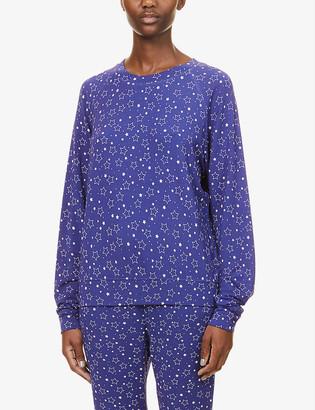 Stripe & Stare Star-pattern raglan-sleeved stretch-jersey top