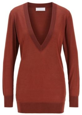 HUGO BOSS Knitted Sweater With V Neck In Pure Silk - Brown