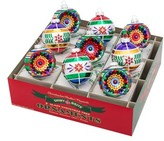 Christopher Radko Traditional Brights Set Of 9 Glass Ornaments