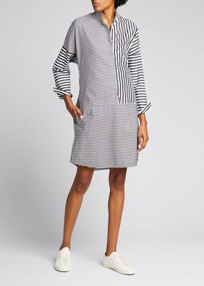 Akris Punto Striped Block Poplin Side-Slit Shirtdress