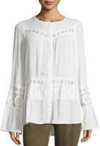 Max Studio Long-Sleeve Lace-Panel Top, Ivory