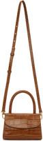 BY FAR Tan Croc Mini Top Handle Bag