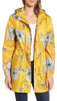 Joules Women's Right As Rain Packable Print Hooded Raincoat
