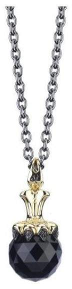 Stephen Webster Stainless Steel/Yellow Gold Plated with Black Crystal & Diamond Necklace