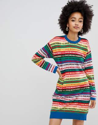 Love Moschino Rainbow sweater dress-Multi
