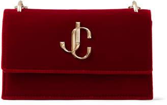 Jimmy Choo BOHEMIA Red Velvet Mini Bag with Chain Strap