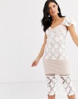 Liquorish lace panel midi dress in white