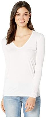 Splendid Madison Long Sleeve Rayon Jersey Scoop Neck Tee (White) Women's Clothing