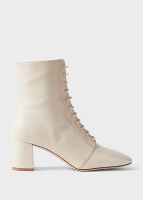 Hobbs Imogen Leather Block Heel Lace Up Ankle Boots