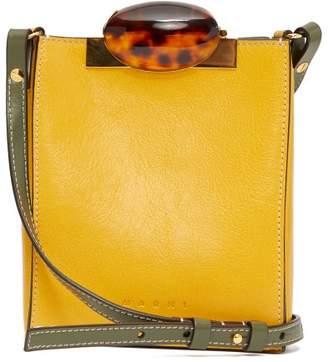 Marni Tortoiseshell-clasp Mini Leather Cross-body Bag - Womens - Yellow