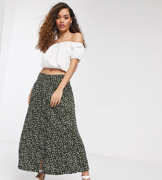 ASOS DESIGN Petite button front midi skirt in green floral print