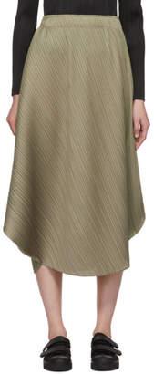 Pleats Please Issey Miyake Grey Curved Pleats Skirt