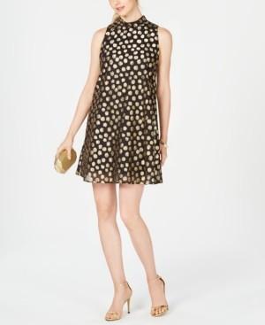 Robbie Bee Petite Polka-Dot Trapeze Dress