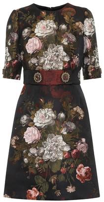 Dolce & Gabbana Embellished floral jacquard minidress