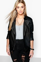 boohoo Plus Eliza Quilted Faux Leather Biker Jacket black