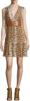 Agnona Sleeveless Ruffled-Hem Dress, Caramel/Multi