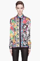 Versace Vivid fuchsia multicolor silk Floral patterned Blouse