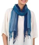 Hand Woven Fringed Silk Scarf in Denim Blue from Thailand, 'Blue Denim Summer'