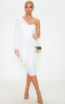 PrettyLittleThing White One Shoulder Tie Waist Midi Dress