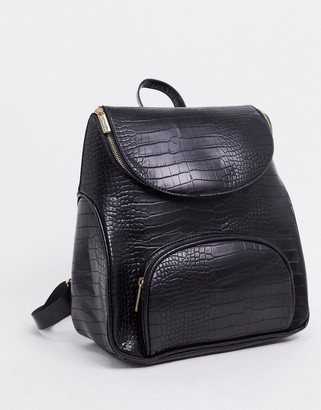 Skinnydip backpack in black mock croc