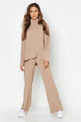 boohoo Roll Neck T-Shirt + Trouser Co-Ord Set