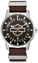 Harley-Davidson Men's Bar & Shield Brown Leather Stainless Steel Watch 76B178