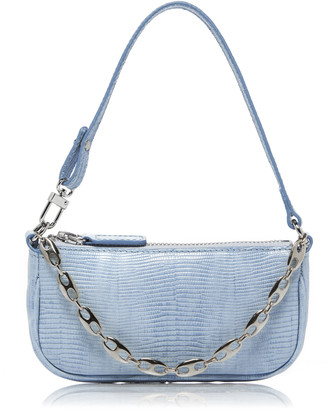 BY FAR Rachel Mini Embellished Lizard-Effect Leather Shoulder Bag