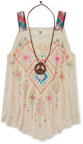 Beautees Aztec Print Tank Top with Necklace - Girls 7-16