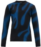 Balenciaga Graffiti Flame-print Ribbed Wool Sweater - Mens - Black Blue