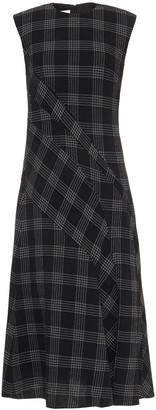 Cédric Charlier Checked Wool-blend Crepe Midi Dress
