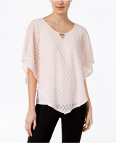 NY Collection Petite Textured Keyhole Poncho Top