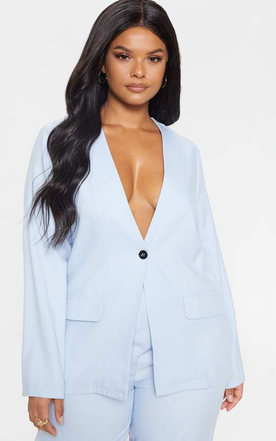 PrettyLittleThing Plus Dusty Blue Button Detail Suit Jacket