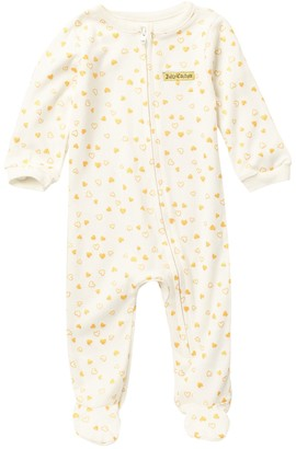 Juicy Couture Heart Foil Patterned Footed Coverall (Baby Girls 0-9M)